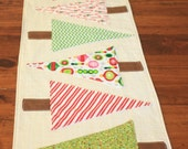 "Modern Christmas Tree Table Runner ""Deck the Halls"""