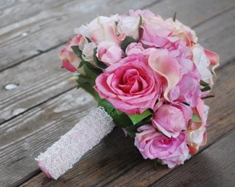 Silk bridal bouquet, pink roses, peonies, calla lilies, seed pearl