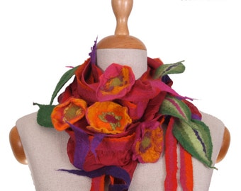 SALE!!! felt, felted necklace wrap, collar, shawl, red and colorful flowers and leaves, boho bestseller gorget for a gift- by inmano