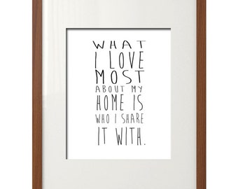 What I Love Most About My Home is Who I Share It With- Printable Art, Black and White