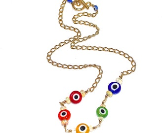 Evil Eye Necklace Opal Necklace Bright Jewelry Evil Eye Jewelry Opal Jewelry Fun Necklace Multicolor Necklace Charm Necklace Trending Jewel