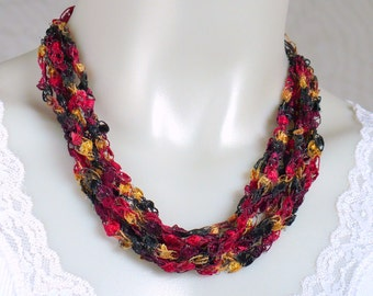 Ladder Yarn Necklace, Red Black & Gold Ribbon Necklace, Crocheted Jewelry, Fiber Necklace, Crochet Necklace, Woman's Necklace, Gifts for her