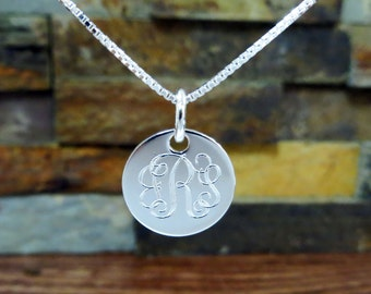 """Mini Sterling Silver Necklace- 5/8""""  - Personalized - 3 Initial Necklace - Monogram Necklace - Monogrammed Necklace- Bridesmaids gift"""