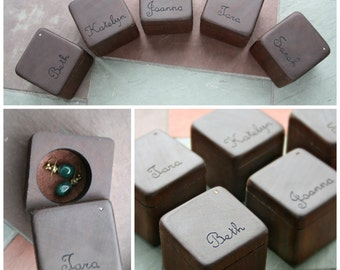 Bridesmaid Gifts- Jewerly Boxes - Personalized Gifts- Hand engraving- Rustic Wedding Bridesmaid Jewelry- Set of 5, Set of 3 or Add 1