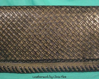Hand-Made LEATHER Checkbook Cover - L041