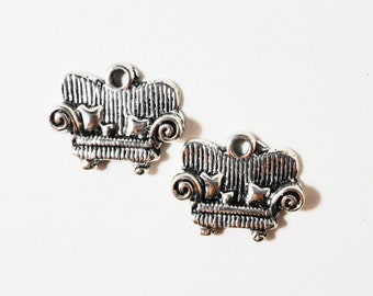 Silver Couch Charms 15x12mm Antique Silver Metal Loveseat Sofa Davenport Furniture Charm Pendant Jewelry Making Findings Craft Supplies 10pc