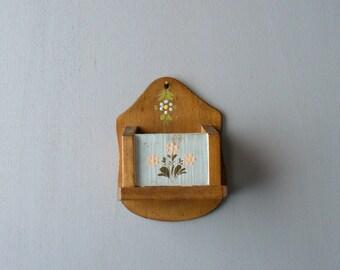 Vintage Tyrolean floral painted wooden holder. Kitchen decor