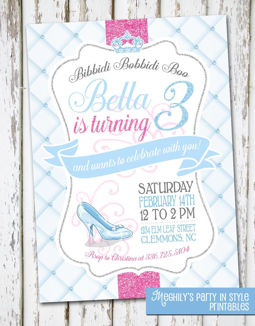 Snap Cinderella Birthday Invitation, Cinderella Birthday, Cinderella ...