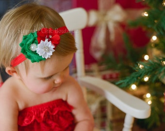 Christmas Headband, Red Christmas Headband,  Baby Headband,  Headband, Baby Headband, Infant Headband, Newborn Headband, Red White and Green