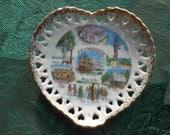 Plymouth MA Souvenir Cutwork Heart Plate