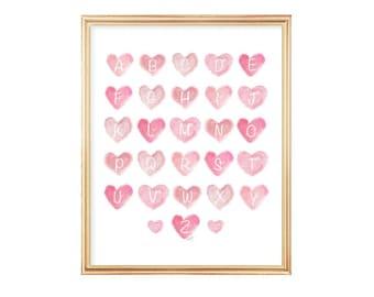 ABC Print, Alphabet Print, Playroom Decor, Alphabet Letters, Pink Nursery Art, abc wall art, Playroom Art, Toddle Wall Decor, Pink ABC's
