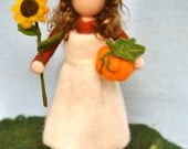 Waldorf inspired needle felted doll/Standing doll: Autumn fairy with sunflower,pumpkin and vegetables.  Made to Order