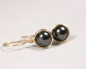 Gold Black Pearl Earrings Wire Wrapped Jewelry Handmade Gold Earrings Black Pearl Drop Earrings Gold Earrings Gold Jewelry Bridal Earrings