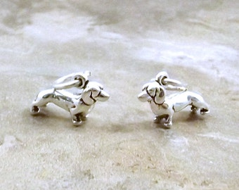 Two Sterling Silver Mini Dachshund Charms  - 3103