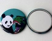 Dinosaur and Panda Badge Mirror Jurassic Panda Jurassic World Mirror gift