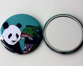Dinosaur Panda Mirror badge mirror Jurassic Panda Jurassic World Mirror gift