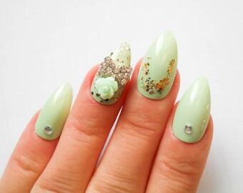 Mint Green Rose Stiletto Nails, Fake Nails, Press on, Nails, False Nails, Glitter, Gold, Rose, Floral, Flower, Pretty, Nail Art