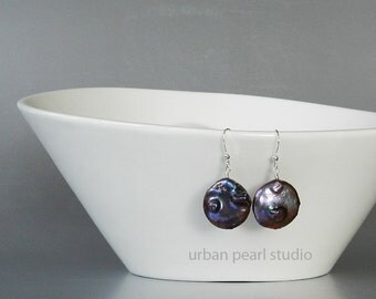 Black Pearl Earrings, Large Black Pearl Drops, Coin Pearl Bridal Jewelry