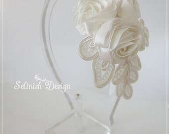 Floral Headband, Women Headband, Wedding Headband, Bridal Headpiece, Wedding Hair Fascinator- Wedding Accessories- HB153rose