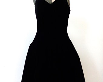 Vintage 80s Black Velvet Dance Dress Size 7