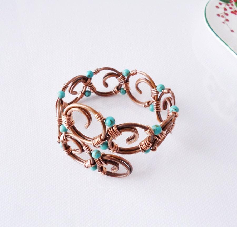 turquoise bracelet copper bracelet cuff wire wrapped copper