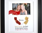 Good friends: gift for childhood friendship going away two state maps never apart quote photo gifts personalized present red and gold colors