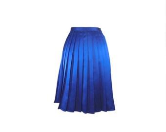 Blue satin skirt knife pleated knee length aline, Italian tailoring skirt