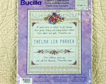Mother Sampler, Counted Cross Stitch Kit, Jane Chandler, Bucilla 43185, Needlework, 11 x 14
