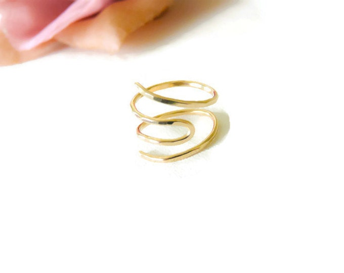Gold Filled Toe Ring Hammered Ring Adjustable Gold Ring For Her
