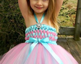 Flower Girl Woven Tutu Dress in Aqua and Pink