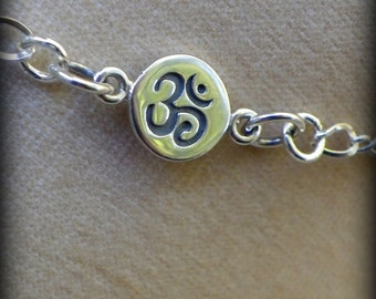 Yoga jewelry, Namaste anklet, Sterling silver anklet, handmade anklet
