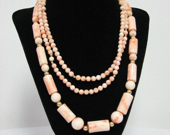 Authentic Vintage Angel Skin coral Necklace- Set of Two Strands 104.893 grams