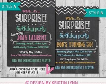 Chalkboard Surprise Party Invitation (DIGITAL FILE)