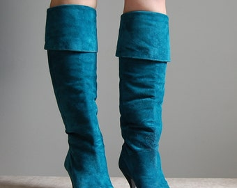 1980s teal green suede high heel boots   fold over boots   6.5   7