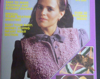 Yarncraft magazine 1982 with knit and crochet patterns - sweater, socks, slippers, place mats, pot holders, yarn doll, afghan, jacket - 1040