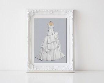Custom Bridal Gown Illustration/ Wedding Dress Sketch (wedding,anniversary or bridal shower gift)