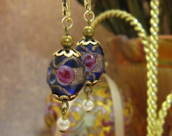 14kt Gold Filled Vintage Wedding Cake Bead Earrings Italian Murano Fiorato Victorian Edwardian