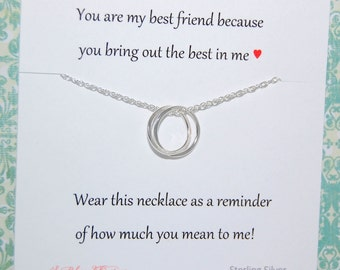BEST FRIENDS necklace, Hostess gift, Connecting circles, friendship gift, Sterling silver, Inspirational jewelry