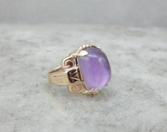 Victorian Revivial Amethyst Cabochon Ring For Ladies Or Gents WR2M9K-N
