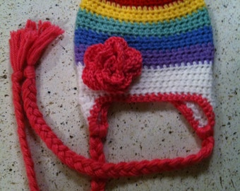 Rainbow Hat with Hot Pink Flower or Bow