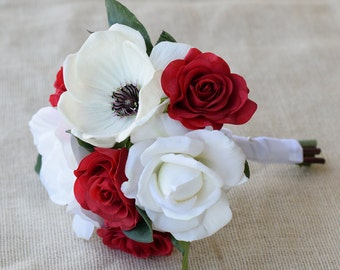 Silk Wedding Bouquet Red Roses and White Black Anemone- Natural Touch Roses Silk Bridal Bouquet