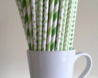 Shamrock and Green Striped and Chevron Paper Straws St Patrick's Day Party Supplies Irish Party Decor Bar Cart Cake Pop Sticks Graduation