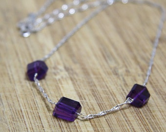 Natural Purple Amethyst Geometric Briolette Necklace in Solid Sterling Silver , Italian Chain , February Birthstone , OOAK , Ready to Ship