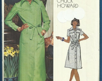 Vintage 1970's Vogue 1072 Designer Chuck Howard Western Shirt Dress Size 12 UNCUT