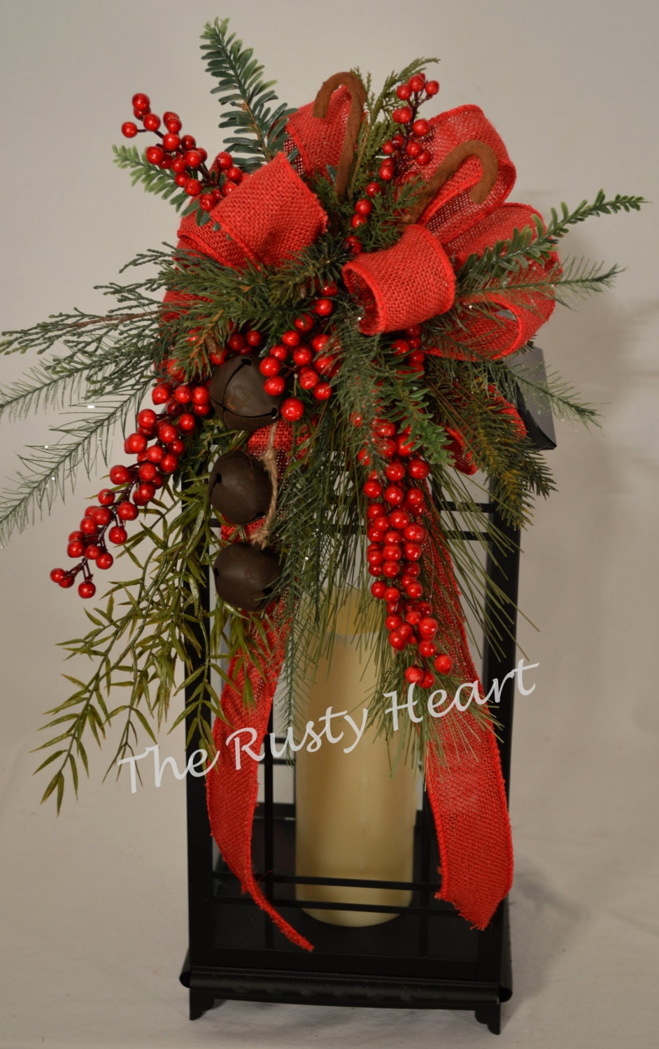 Christmas lantern swag with red burlap ribbon for Images of lanterns decorated for christmas