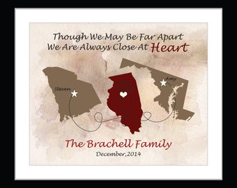 Personalized family map print, long distance family gift print, christmas gift from us, custom state family map gift, family distance print