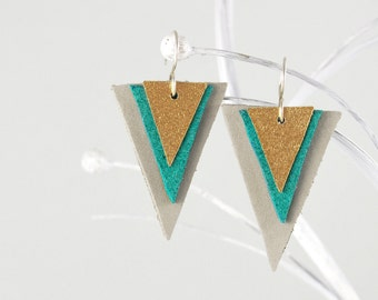 Triangle Leather Earrings in Gray Teal Gold, Elegant Geometric Earrings With Ear Wires Of 925 Sterling Silver