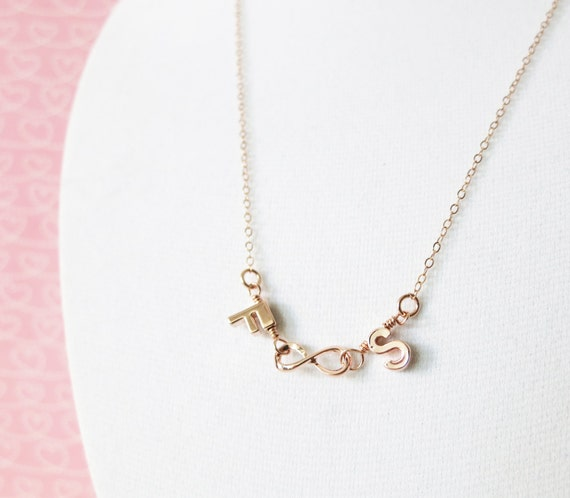 Infinity and Letter Necklace - 14K Rose Gold FILLED Chain, simple rose gold necklace infinity letter charm, best friend, couple lover