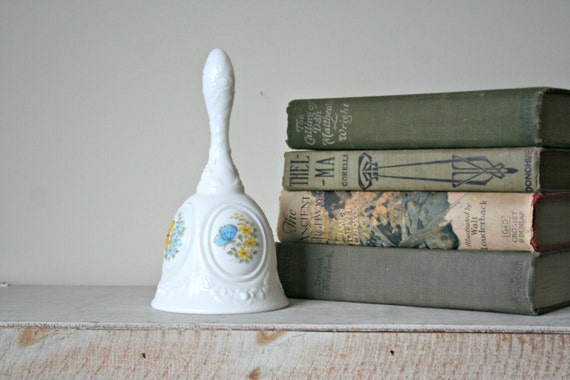 Fenton Butterfly Bell, Handpainted Milk Glass Bell, Yellow Blue Butterfly, Collectible Bell, Spring Garden, Hand Painted Fenton Bell, White