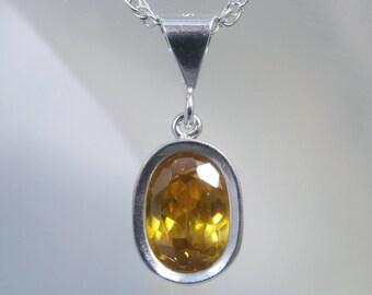 SPHALERITE - Dazzling Golden .925 Sterling Silver Backset Necklace 2.60 carats! FREE SHIPPING!